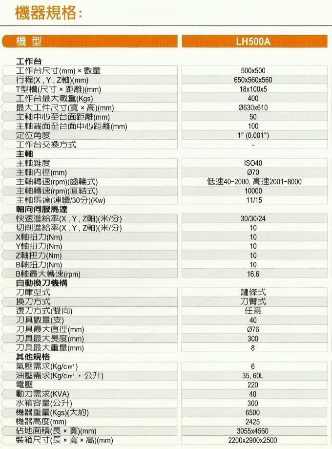 LH500A規格表