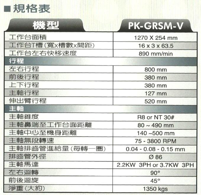 PK-GRSM-V規格表